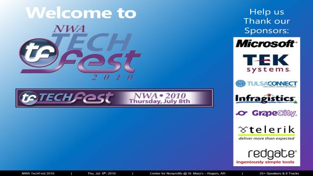 Welcome/Announcements/Prize Drawing/Closing! - NWA TechFest 2010 - 07/08/2010
